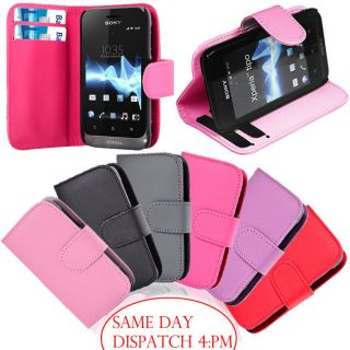 Sony Ericsson Xperia Tipo Magnetic Side Open Card Holder PU Leather Wallet Case