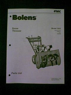 Bolens 1032 Snow Blower Snowthrower Parts Manual