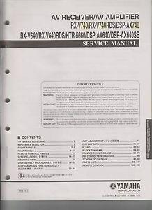 Original Yamaha RX V740 V640 DSP AX640 HTR5660 AV Receiver Amp Service Manual