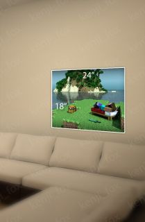 Minecraft PC Game Poster Print 24x18 Steve Island Relax Diamond Sword USA New