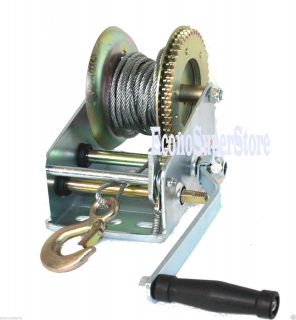 3000lbs Dual Gear Hand Winch Hand Crank Manual Boat ATV RV Trailer 33ft Cable