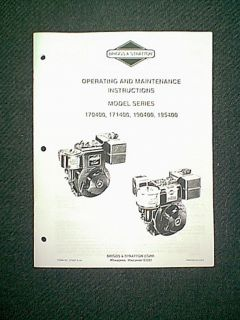 Briggs Stratton Engine Model Series 170400 171400 190400 195400 Owners Manual