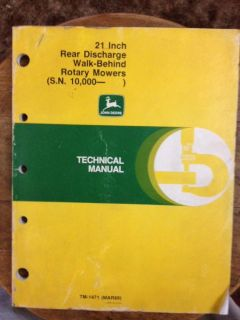 John Deere 21 inch Rear Discharge Walk Behind Rotary Mowers Technical Manual