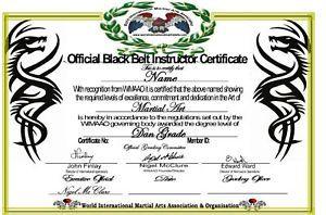 Martial Arts Black Belt Certificate All Styles Grades