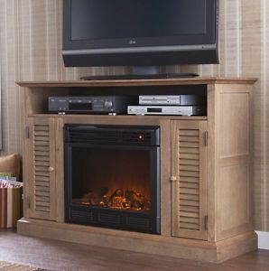 ... Wood Electric Infrared Fireplace Heater Media Entertainment TV Storage  Oak Stand ...