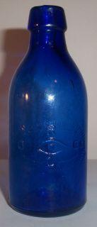 """Cobalt Blue Rol Co Eye Lotion Medicine Bottle 4 1 2"""" Tall"""