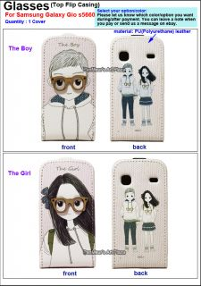 Samsung Galaxy Gio S5660 Phone PU Leather Case Cover Glasses