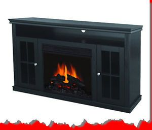 ... Blk Electric Infrared Fireplace Heater Media Entertainment TV Storage  Stand Wood ...