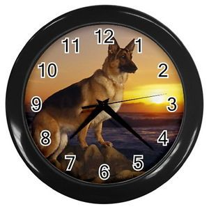 German Shepherd Dog Round Large Wall Clock Black Collection Gifts New Year