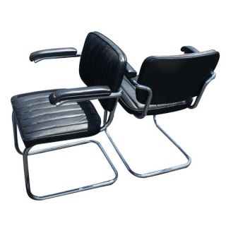 2 Thonet Leather Cesca Side Chairs by Marcel Breuer