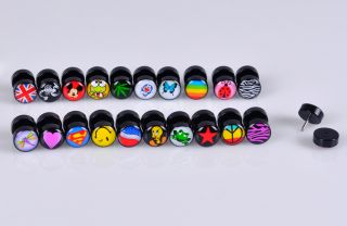 LOT100PCS Logos Cheater Ear Plugs Earring Stud Illusion Fake Plugs Taper 8mm