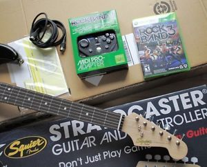 RARE Fender Stratocaster Guitar Mad Catz Controller Rock Band 3 Xbox 360 Game