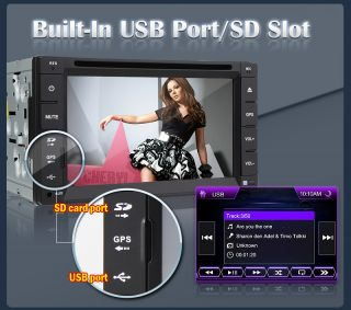 "In Dash 2 DIN 6 2"" Car DVD Player GPS iPod TV BT Radio Free Backup Camera SD Map"