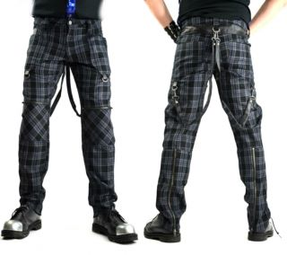 Lip Service Punk Gray Plaid Emo Bondage Gothic vegi Leather PVC Pants Goth