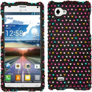 Rainbow Dots Pink Blue Purple Bling Case Cover for LG Optimus 4X HD P880