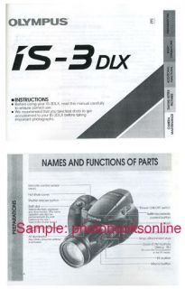 Details about Olympus IS 3 DLX, IS 3DLX Camera Instruction Manual