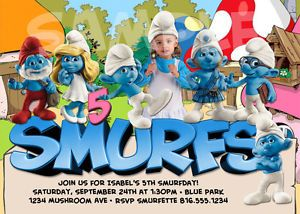 Details about Printable THE SMURFS Birthday Invitation   Add a SMURF
