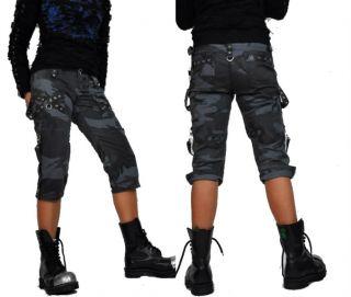 Tripp NYC Gothic Camo Steampunk Straps Punk Goth Rock Star Capri Pants