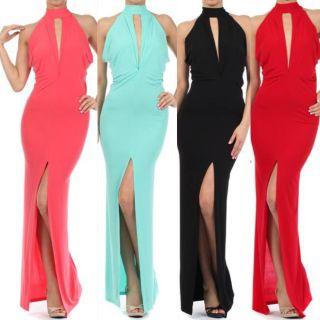 New s M L Maxi Dress Women Black Halter Keyhole Thigh Slit Full Length Gown Sexy