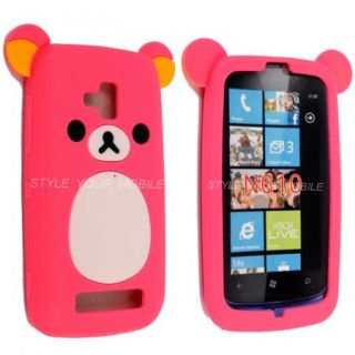 For Nokia Lumia 610 Pink Cartoon Style Rubber Silicone Case Cover