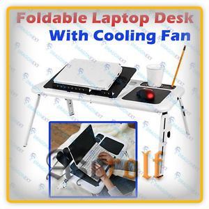 Adjustable Angle Laptop Notebook PC Table Desk USB Dual Electric Air Cooler Fan