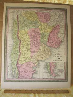 Vintage Print Chili La Plata Uruguay Johnson or Mitchell c1850 Color
