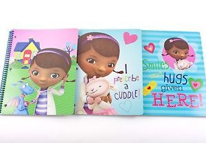 3 Disney Doc McStuffins School Spiral Notebooks Supplies 50 Sheets Girls Lambie