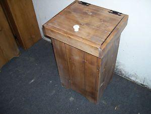 Wood Trash Bin Pet Food Hamper Lift Top Handcrafted