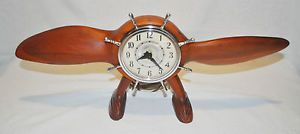 Howard Clock Wooden Propeller SHIP Wheel Electric Desk Clock Refurbished