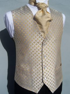 Mens and Page Boys Tudor Gold and Ivory Wedding Dress Suit Waistcoat All Sizes