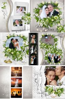 Wedding Digital Photo Book Templates Photoshop Album Frame Backdrop Background 1