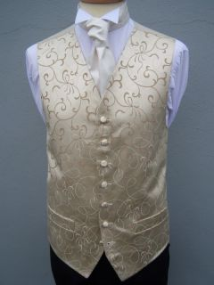 Mens Vintage Ivory Gold Swirl Wedding Dress Suit Waistcoat 32 34 36 38 42 44 46