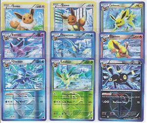 Eevee Evolution Rev Holo Plasma Freeze Pokemon Cards Mint Espeon Leafeon