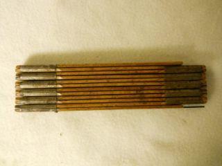 "Antique Vintage Folding Ruler Wood and Brass with 6"" Slide"