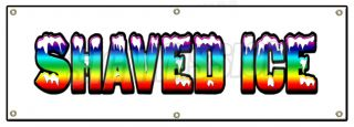 """72"""" Shaved Ice Banner Sign Hawaiian Cart Stand Signs Italian Water Sno Snow Cone"""