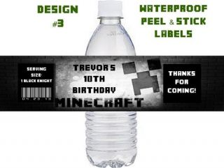 Waterproof Minecraft Birthday Water Bottle Labels Party Favors Invitations