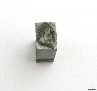 Vintage Tote Redmen Printers Block Stamp Native American Indian Headdress 8 9g