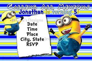 Despicable Me Minions Printable Birthday Invitation Personalized