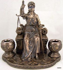 Lady Scales of Justice Lawyer Statue Candlestick Holder