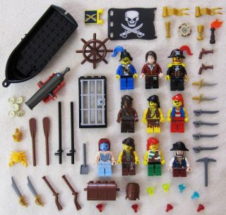 10 Lego Pirate Minifig Lot Plus Accessories Figures Men Minifigures Set Guys