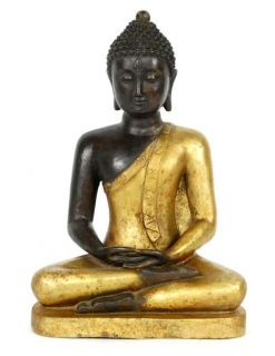 Gilded Bronze Thai Buddha Statue Asian Deity Gift 16""