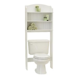 Bath Storage Space Saver Over Toilet Caddy Shelf White Bead Bathroom Cabinet