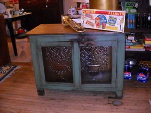Jelly Cabinet Primitive Pie Safe Tin Doors Old Wood Buffet