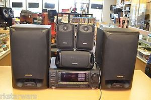 Aiwa AU X100 Receiver w 5 Speakers Surround Sound Home Theater System Free SHIP