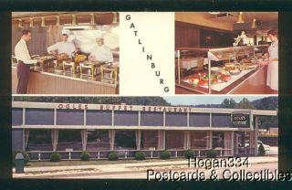 3 Scenes Ogles Buffet Restaurant Gatlinburg Tennessee Postcard