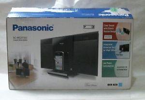 Panasonic SC HC27 CD Compact Shelf Stereo System Built in iPod iPhone Dock Black