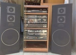 Vintage Retro Integrated CD Cassette Record Player Shelf Stereo System Wspeakers