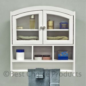 Bathroom Cabinet White Arch Top Bath Wall Mount Storage Cabinet Solid Wood New
