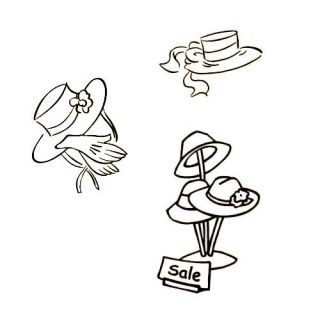 3 Rubber Stamps Ladies Hats Hat Sale Red Hat Society Unmounted 5