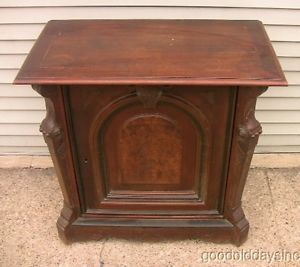1890s Antique Victorian Walnut Wood Small Server Buffet TV Stand Storage Cabinet